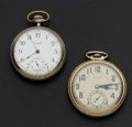 Timepieces:Pocket (post 1900), Waltham & Burlington Open Face Pocket Watches. ... (Total: 2Items)