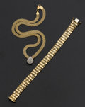 Estate Jewelry:Other , Diamond Necklace & Gold Bracelet. ... (Total: 2 Items)