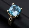 Estate Jewelry:Rings, Blue Topaz Gold Ring. ...