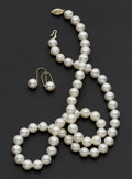 Estate Jewelry:Pearls, Cultured Pearl Necklace & Drop Earrings. ... (Total: 2 Items)