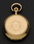 Timepieces:Pocket (post 1900), Swiss 18k Gold Hunter's Case Pocket Watch. ...