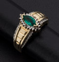 Estate Jewelry:Rings, Emerald & Diamond Gold Ring. ...