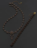 Estate Jewelry:Coin Jewelry and Suites, Antique Bohemian Garnet Necklace & Bracelet. ... (Total: 2Items)