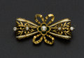 Estate Jewelry:Brooches - Pins, Diamond & Cultured Pearl 18k Gold Ribbon Brooch. ...