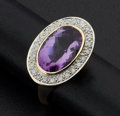 Estate Jewelry:Rings, Diamond & Amethyst Gold Ring. ...