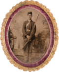 Photography:Tintypes, Oval Civil War Tintype of a Young Federal Infantryman....