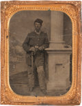 Photography:Tintypes, Nice Quarter Plate Civil War Tintype of Federal Officer, casuallyposed....