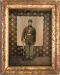 Photography:Tintypes, Civil War Tintype of an Armed Federal Infantryman. ...