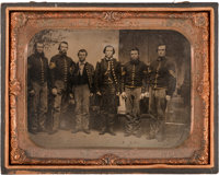 Great Horizontal Half Plate Civil War Tintype of one Federal Cavalry Officer, and five NCOs