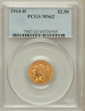 Indian Quarter Eagles: , 1914-D $2 1/2 MS62 PCGS. PCGS Population (1686/1816). NGC Census:(3433/2813). Mintage: 448,000. Numismedia Wsl. Price for ...