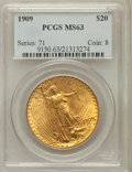 Saint-Gaudens Double Eagles: , 1909 $20 MS63 PCGS. PCGS Population (617/275). NGC Census:(132/98). Mintage: 161,282. Numismedia Wsl. Price for problem fr...