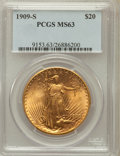 Saint-Gaudens Double Eagles: , 1909-S $20 MS63 PCGS. PCGS Population (1878/2144). NGC Census:(1715/1605). Mintage: 2,774,925. Numismedia Wsl. Price for p...