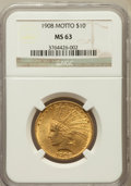 Indian Eagles: , 1908 $10 Motto MS63 NGC. NGC Census: (474/304). PCGS Population(742/319). Mintage: 341,300. Numismedia Wsl. Price for prob...