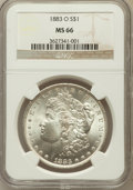 Morgan Dollars: , 1883-O $1 MS66 NGC. NGC Census: (982/32). PCGS Population (701/35).Mintage: 8,725,000. Numismedia Wsl. Price for problem f...