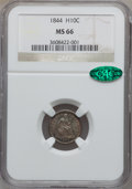 Seated Half Dimes, 1844 H10C MS66 NGC. CAC....