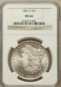 Morgan Dollars: , 1883-O $1 MS66 NGC. NGC Census: (983/33). PCGS Population (702/35).Mintage: 8,725,000. Numismedia Wsl. Price for problem f...