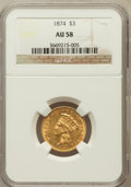 Three Dollar Gold Pieces: , 1874 $3 AU58 NGC. NGC Census: (904/760). PCGS Population (455/650).Mintage: 41,800. Numismedia Wsl. Price for problem free...