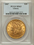 Liberty Double Eagles: , 1907 $20 MS63 PCGS. PCGS Population (4341/876). NGC Census:(6545/687). Mintage: 1,451,864. Numismedia Wsl. Price for probl...
