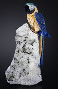 Lapidary Art:Carvings, BLUE MACAW IN LAPIS ON ALBITE, MICA AND TOURMALINE BASE. Artist: Peter Müller. Stone Source: Brazil. ...