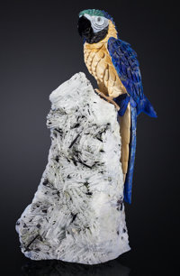 BLUE MACAW IN LAPIS ON ALBITE, MICA AND TOURMALINE BASE Artist: Peter Müller Stone Source: Brazil