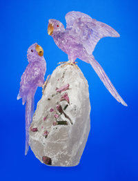 MACAW COUPLE IN AMETHYST ON QUARTZ AND TOURMALINE BASE Artist: Peter Müller Stone Source: Brazil<