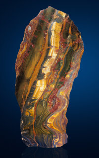 SPECTACULAR TIGER'S EYE FREE FORM SLAB WITH REINFORCED METAL BACKING Mount Brockman Station, Pilbara, Western A