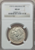 Commemorative Silver: , 1939-D 50C Arkansas MS64 NGC. NGC Census: (196/189). PCGSPopulation (244/306). Mintage: 2,104. Numismedia Wsl. Price forp...
