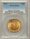 Indian Eagles: , 1911 $10 MS63 PCGS. PCGS Population (1617/657). NGC Census:(1677/1129). Mintage: 505,595. Numismedia Wsl. Price for proble...