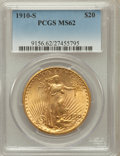 Saint-Gaudens Double Eagles: , 1910-S $20 MS62 PCGS. PCGS Population (1129/2440). NGC Census:(1455/1694). Mintage: 2,128,250. Numismedia Wsl. Price for p...
