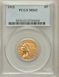 Indian Half Eagles: , 1915 $5 MS62 PCGS. PCGS Population (1345/1342). NGC Census:(1786/1200). Mintage: 588,075. Numismedia Wsl. Price for proble...
