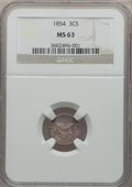 Three Cent Silver: , 1854 3CS MS63 NGC. NGC Census: (62/138). PCGS Population (63/140).Mintage: 671,000. Numismedia Wsl. Price for problem free...
