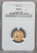 Indian Quarter Eagles, 1928 $2 1/2 MS64 NGC....