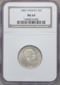 Coins of Hawaii, 1883 25C Hawaii Quarter MS64 NGC. NGC Census: (218/280). PCGSPopulation (329/267). Mintage: 500,000....