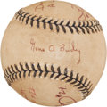 Baseball Collectibles:Balls, 1995 Mickey Mantle Day Game Used Baseball, Signed By Four Umpiresand American League President Gene Budig....