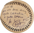 Baseball Collectibles:Hats, Mickey Mantle Day Game Used Baseball Signed and Inscribed by Umpire Al Clark....