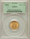 Liberty Quarter Eagles: , 1903 $2 1/2 MS64 PCGS. PCGS Population (1256/923). NGC Census:(1293/1037). Mintage: 201,000. Numismedia Wsl. Price for pro...