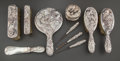 Silver Flatware, Chinese Export:Flatware , A TEN-PIECE JAPANESE SILVER VANITY SET . Maker unknown, circa 1900.Marks to shoehorn blade: (bird), K&K, (script). 10-3...(Total: 10 Items)