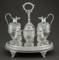 Silver Holloware, British:Holloware, A WILLIAM BURWASH AND RICHARD SIBLEY GEORGE III SILVER AND CUTGLASS CRUET SET. William Burwash & Richard Sibley, London,En... (Total: 8 )