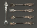 Silver Flatware, American:Tiffany, A SET OF FIVE TIFFANY & CO. SILVER CHERRY FORKS . Tiffany &Co., New York, New York, circa 1890. Marks: TIFFANY &CO.. 3... (Total: 5 Items)