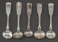 Silver & Vertu:Flatware, FIVE AMERICAN COIN SILVER MUSTARD SPOONS. Various makers, Late 19th-Early 20th century. Marks: Various marks. 3-3/4 inches l... (Total: 5 Items)