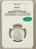 Seated Quarters: , 1875 25C MS63 NGC. CAC. NGC Census: (43/106). PCGS Population(48/133). Mintage: 4,293,500. Numismedia Wsl. Price for probl...
