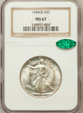 Walking Liberty Half Dollars: , 1944-D 50C MS67 NGC. CAC. NGC Census: (216/1). PCGS Population(207/0). Mintage: 9,769,000. Numismedia Wsl. Price for probl...