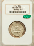 Commemorative Silver: , 1936 50C Norfolk MS66 NGC. CAC. NGC Census: (1077/727). PCGSPopulation (1626/1164). Mintage: 16,936. Numismedia Wsl. Price...
