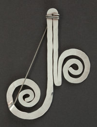 AN ALEXANDER CALDER SILVER AND STEEL WIRE PIN Alexander Calder (American, 1898-1976), New York, New York, circa 1