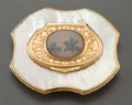 Silver Smalls:Snuff Boxes, A DUTCH GOLD, MOTHER-OF-PEARL AND MOSS AGATE SNUFF BOX . Makerunknown, circa 1730. Unmarked. 2-1/2 inches long x 2 inches w...
