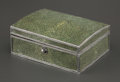 Decorative Arts, French:Other , A JOHN PAUL COOPER GEORGE V SILVER MOUNTED SHAGREEN CIGARETTE BOX .John Paul Cooper, (British, 1869-1933), circa 1930. 2 x ...