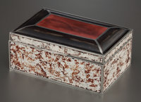 A CHINESE ENAMEL, SILVER AND EGGSHELL BOX China, circa 1920 Unmarked 2-1/4 x 5-3/4 x 3-5/8 inches (5.7 x 14