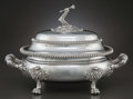 Silver Holloware, British:Holloware, A KIRKBY, WATERHOUSE & CO. GEORGE IV SILVER COVERED SOUPTUREEN. Kirkby, Waterhouse & Co., Sheffield, England, circa1821-18...
