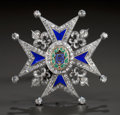 Estate Jewelry, A SILVERED GOLD, DIAMOND AND ENAMEL COMMANDER'S BREAST PIN OF THE ORDER OF CHARLES III . Spain, circa 1773. Unmarked. 3-1/4 ...