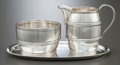 Silver Holloware, American:Creamers and Sugars, A TIFFANY & CO. SILVER SUGAR AND CREAMER SET . Tiffany &Co., New York, New York, circa 1970 . Marks to creamer: TIFFANY&... (Total: 3 Items)